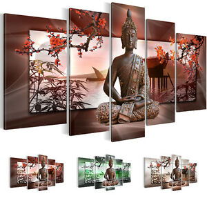 bild bilder leinwand 5032516 27 buddha kunstdruck neue kollektion braun 5tlg ebay. Black Bedroom Furniture Sets. Home Design Ideas