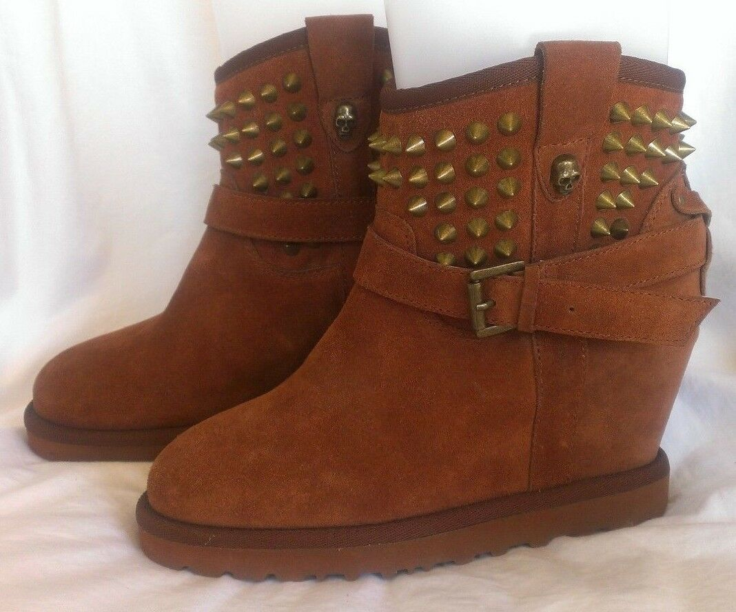 ASH Yahoo Leather Studded Spiked Skull Biker Boots Brown Womans 36 US 6