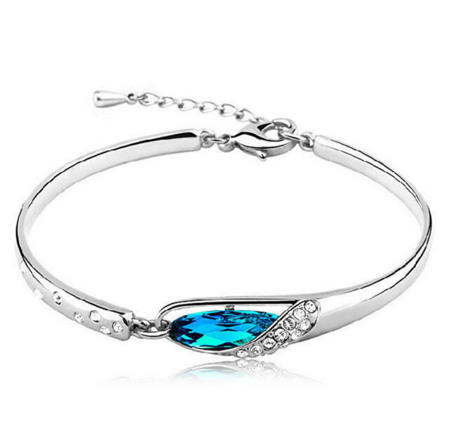New Fashion Women Silver Plated Crystal Chain Bangle Cuff Charm Bracelet Jewelry