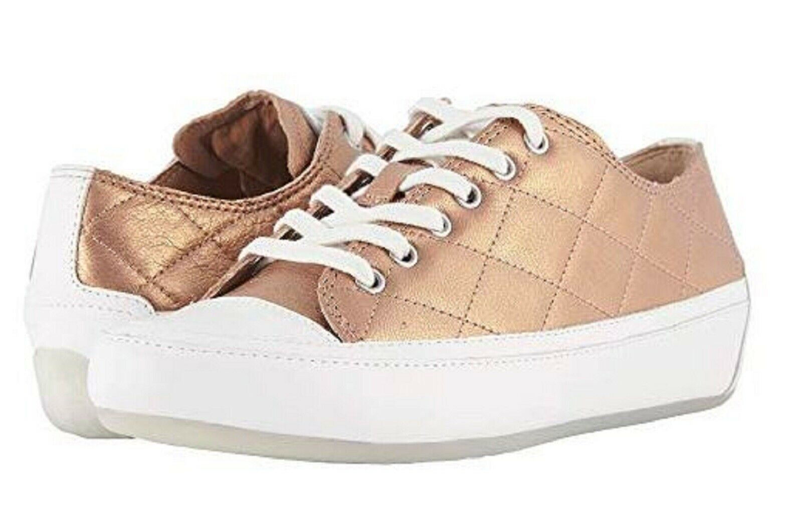 Vionic Orthaheel DELIGHT EDIE Quilted Leather Sneakers pink gold 6.5 M NIB