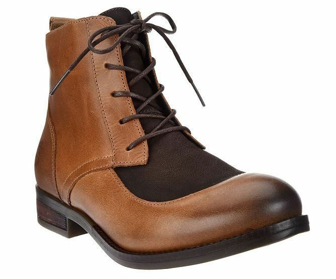 NEW FLY London Leather Lace-up Ankle Boots - ARTY CAMEL Size 6 - 6.5 Euro 37