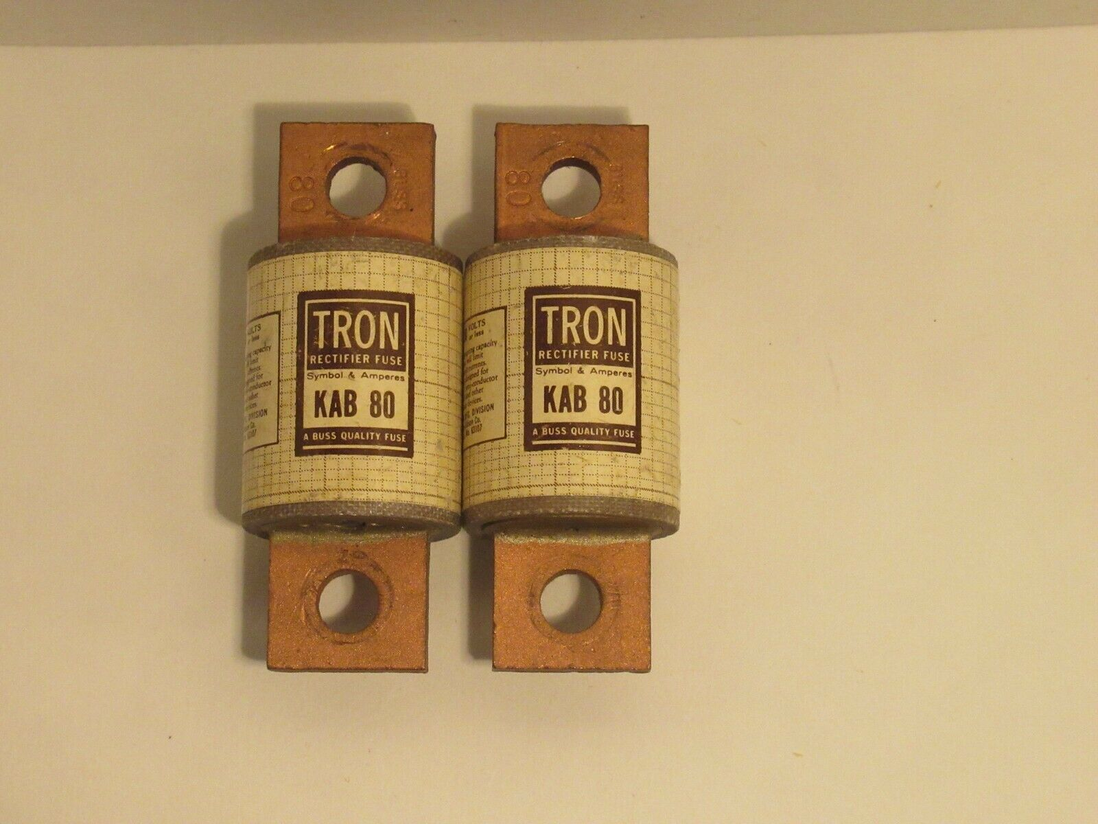NEW BUSSMANN TRON KAB 80 RECTIFIER FUSE KAB80 KAB-80 80 AMPS 250 VOLTS LOT OF 2