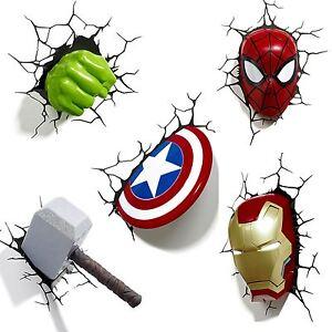 Marvel avengers 3d wall light hulk iron man captain america la imagen se est cargando marvel los vengadores 3d luz de pared hulk aloadofball Images