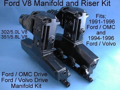 FORD V8 EFI EXHAUST MANIFOLD RISER KIT OMC COBRA 91-96 3852347 3855271 3855269