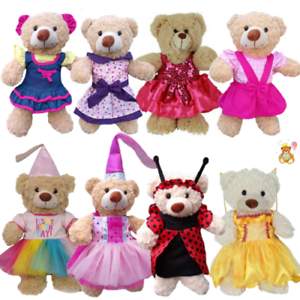 16-inch-40cm-TEDDY-CLOTHES-PINK-DRESS-PRINCESS-DENIM-TUTU-BIRTHDAY-BUTTERFLY