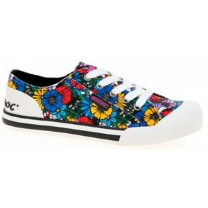 Rocket-Dog-JAZZIN-FLOWER-FRENZY-Ladies-Womens-Cotton-Casual-Trainers-Black-Multi