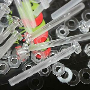 60-x-Acrilico-Bulloni-e-Dadi-M4-x-40mm-in-Plastica-Trasparente-Acrilico-Viti