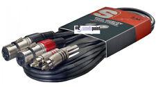 Adapter Kabel-F- 2 x Chinch auf  2 x XLR -0,60m - Chinchstecker aus Metall