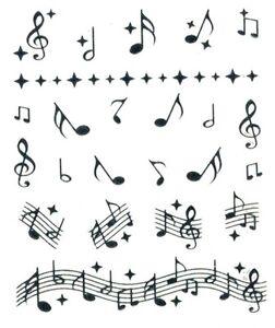 one stroke sticker sonstiges musiknoten silber tattoo aufkleber ebay. Black Bedroom Furniture Sets. Home Design Ideas
