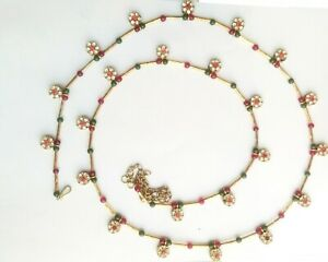 Hip-Belly-Waist-Pearl-Gold-Tone-Chain-Kundan-Indian-Jewelry-Indian