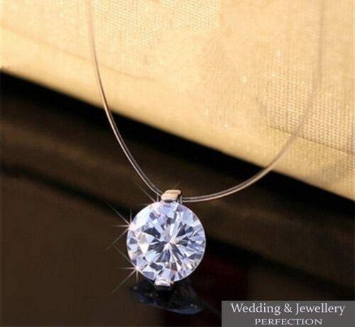 Collar De Mujer Joyería Colgante Cadena Gargantilla Invisible Cristal Estrás encanto