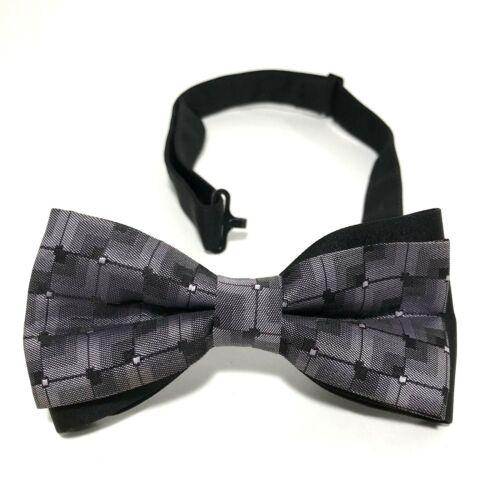 Mens Bow Tie Pre Tied Purple Black Butterfly Checks Adjustable Size Wedding Prom