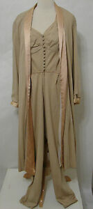 LUCIE-ANN-Jumpsuit-amp-Jacket-Vintage-2pc-Beige-Bias-Cut-Silk-Zip-Front-Halter