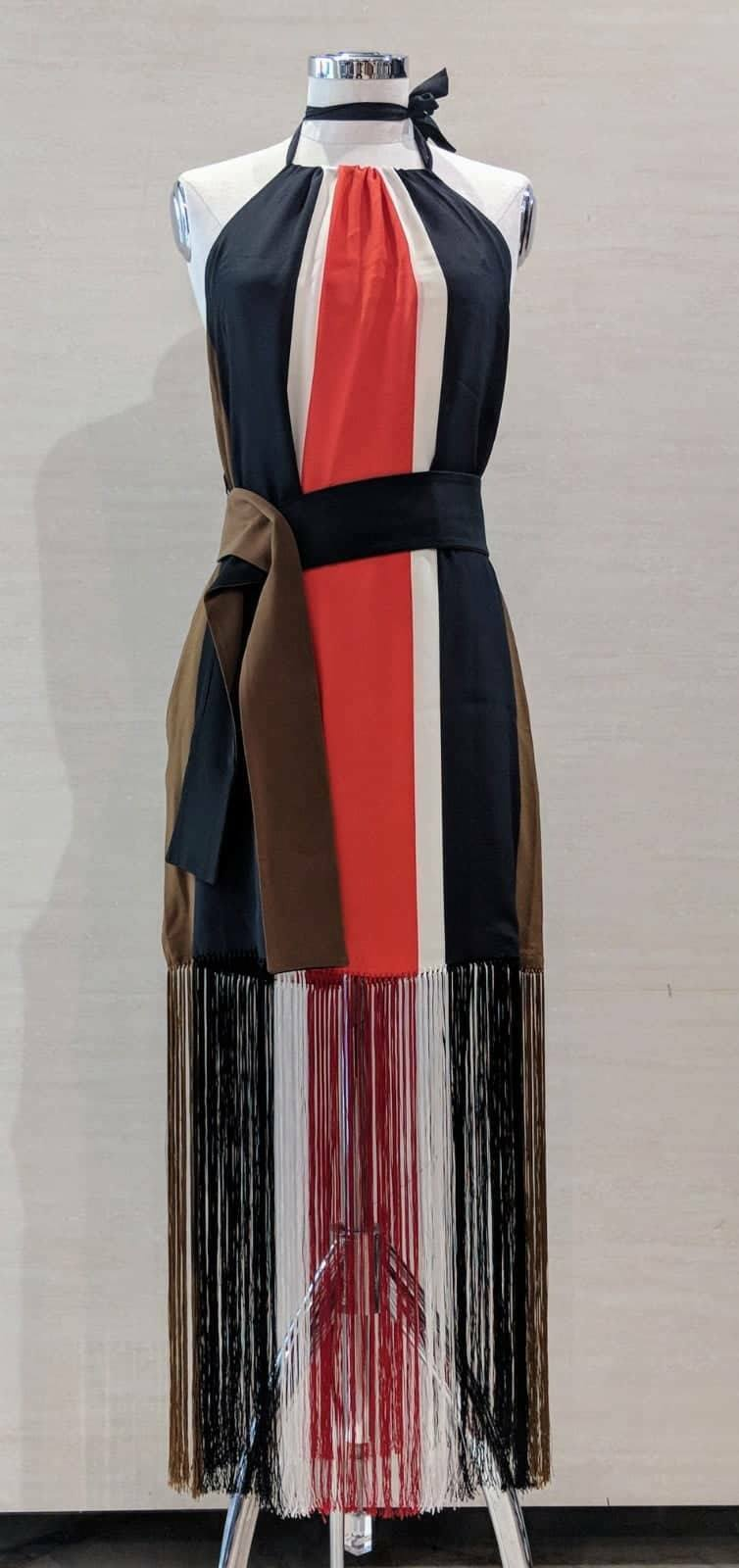 1200 NWT FENDI Multicolor Stripped 100% Silk FRINGE Dress Size S MADE IN ITALY 632278
