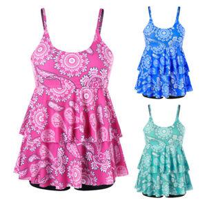 Details about Women Plus Size Swim Dress Printed Tankini Set Two Piece  Swimsuit Bathing Suit