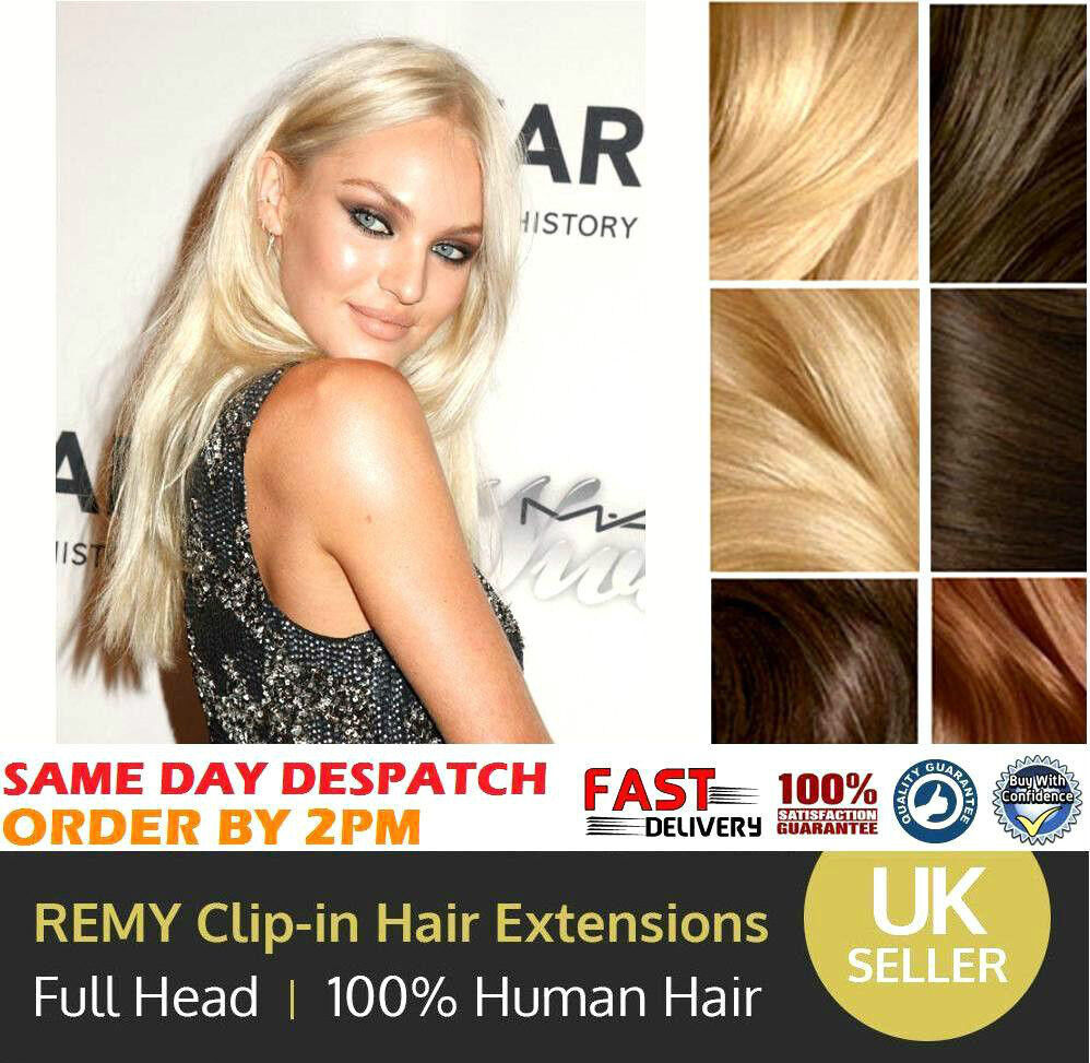 Clearance Clip In Human Hair Extensions Full Head 100 Real Remy
