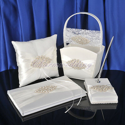 Luxurious Beaded Wedding Guestbook Pen Set Ring Pillow Flower Girl Basket Garter
