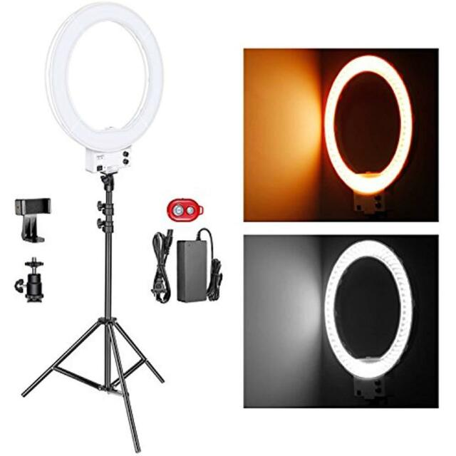 Neewer Macro & Ringlight Flashes 18-inch White LED Light Stand Lighting Kit 50W