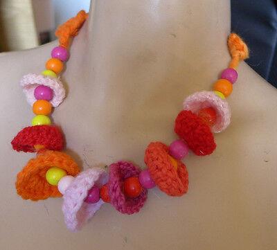 Orange Handmade Crochet necklace
