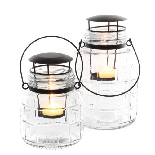 Glas Windlicht mit Henkel Laterne Teelicht Laternenlicht Teelichtglas Garten