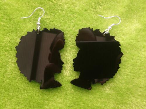 Laser Cut acrylique SOUL SISTA Afro silhouette afrique Boucles d/'oreilles en noir grande taille