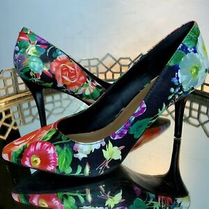 143-Girl-Shoes-Floral-Heels-Pointed-toe-Women-Size-7M-Slip-On-GUC-S8