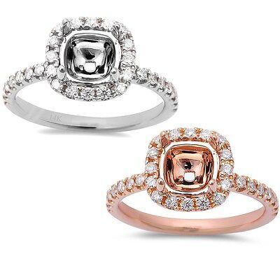 .39ct Round Halo Style 14kt Rose & White Gold Diamond Semi Mount Engagement Ring