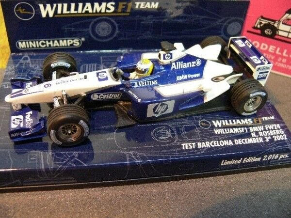 1 43 Minichamps williams f1 BMW fw24 N. rosberg test Barcelone December 3rd 2002