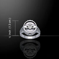 Irish Claddagh .925 Sterling Silver Poison Ring By Peter Stone