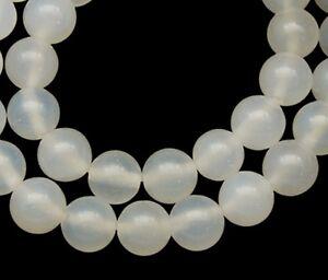 Ravissement 50 X Agate Perles-blanc-ronde - 6mm-afficher Le Titre D'origine