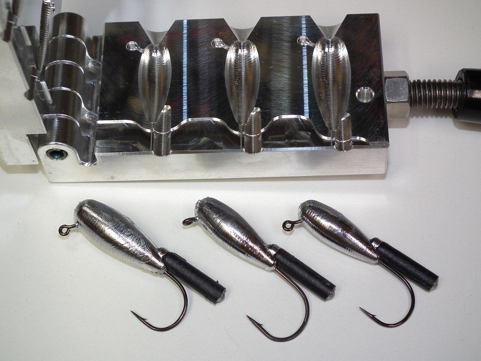 Freshwater Tube Rattler jig mold 5 8, 3 4, 1oz CNC Aluminum