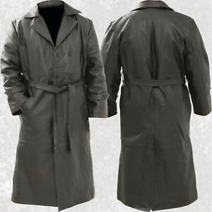 Mens Black Solid Leather Long Trench Coat Duster Double Breasted ...