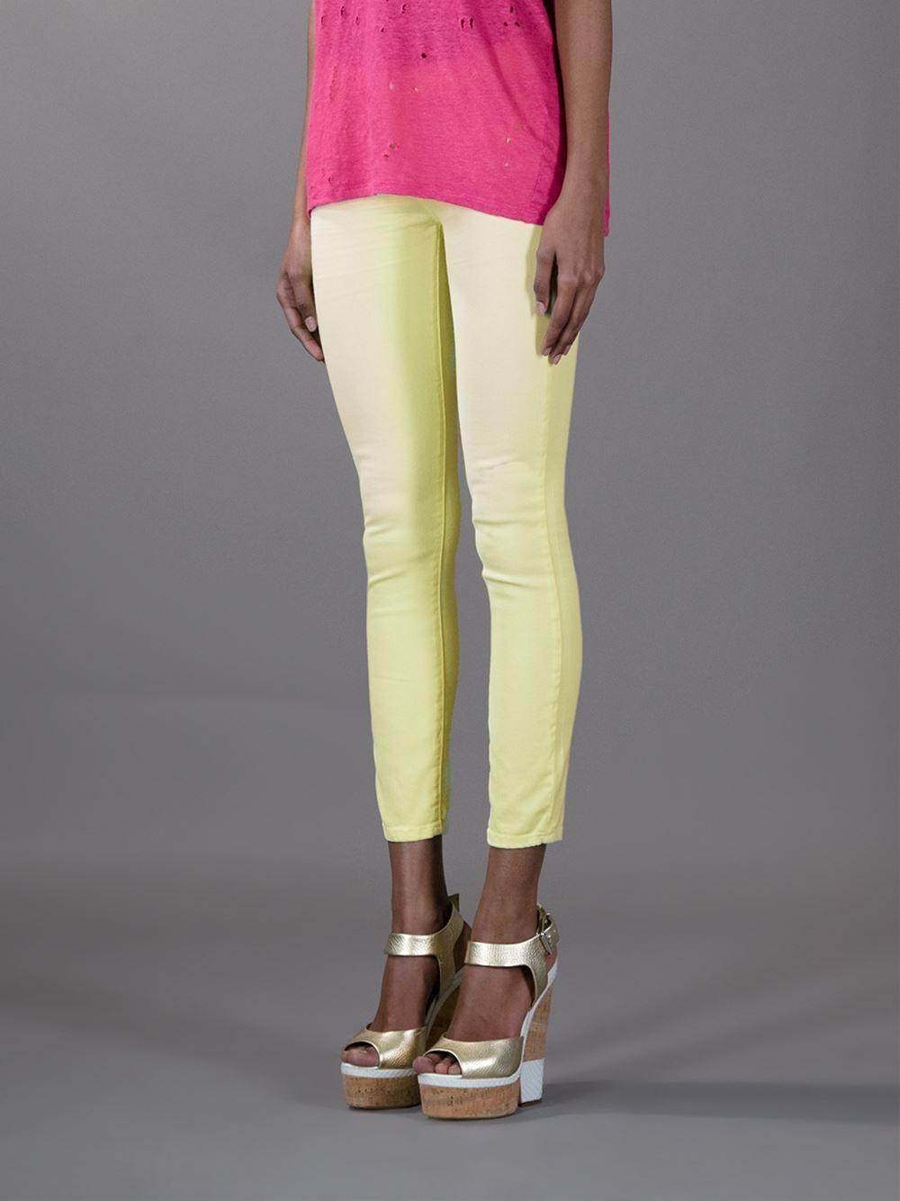IRO Yellow Cropped Jeans Pants Neon Acid Yellow  198.00  size 26