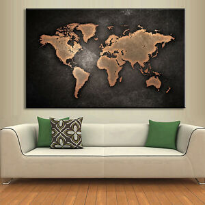 Gold World Map Wall Art.Abstract Black World Map Canvas Print 1 Pcs Modern Landscape Gold