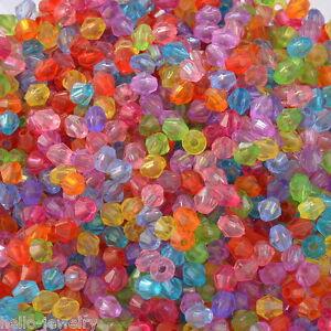 2000-Neu-Mix-Acryl-Doppelkegel-Perlen-Bicone-Rhomben-Facettiert-Beads-4x4mm