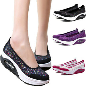 New-Women-Casual-Shape-Ups-Walking-Fitness-Toning-Shoes-Platform-Wedge-Sneakers