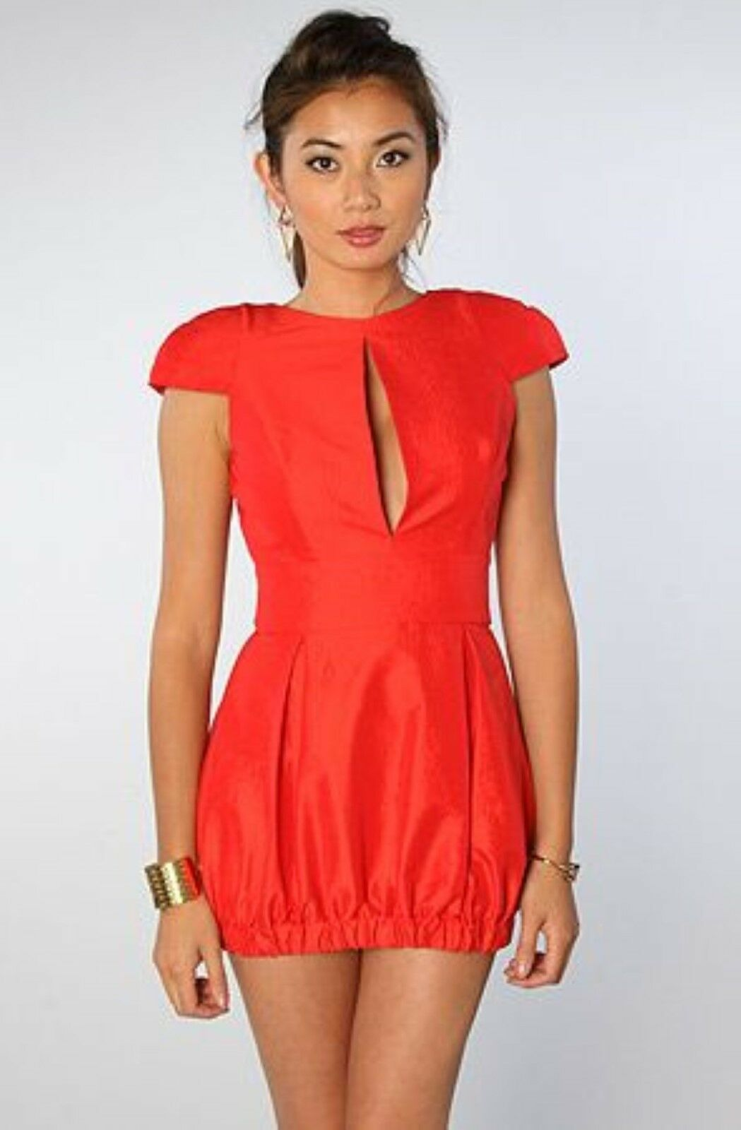 Naven Naven Naven Keyhole Party Dress Red Tafetta size Medium d0f1d2