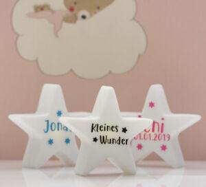 Details zu Personalisiertes Geschenk Stern Lampe mit Namen und Datum