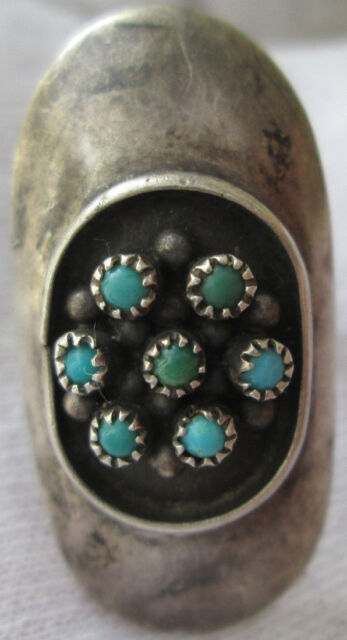 ANTIQUE ZUNI Sterling Silver CERRILLOS TURQUOISE PETIT POINT ring size 7