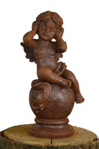 Schöne Engelfigur Kugel Gusseisen Garten Skulptur Deko Putte Rost Flügel Hallo