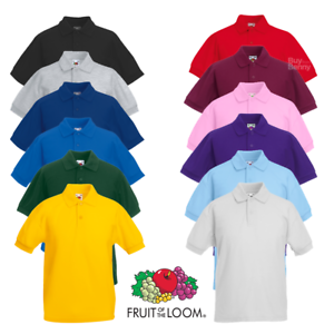 Fruit-Of-The-Loom-PIQUE-POLO-SHIRT-KIDS-BOYS-GIRLS-PLAIN-SCHOOL-ALL-AGES-3-15