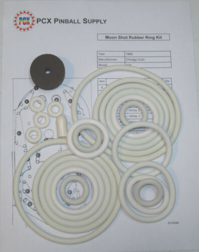 1969 Chicago Coin Moon Shot Pinball Machine Rubber Ring Kit