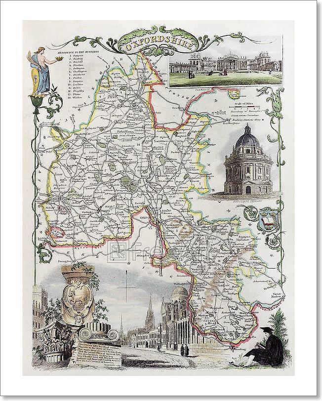 Print Art Map Oxfordshire Home Decor Wall Art Poster - G ...