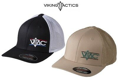Viking Tactics VTAC Flexfit Hat W/Logo-Black/White Or Coyote-Choose Your Size