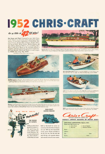 Retro Chris-Craft Ad VINTAGE BOAT Ad Classic Boating Ad Mid-Century Poster