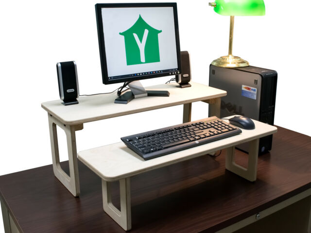 Standing Computer Desk Converter Wood Separate Keyboard And Monitor Shelves