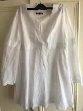 Jaeger White Long Blouse, Size 16, Embroidered