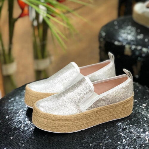 Womens Casual Canvas Pumps Slip On Platform Trainers Sneaker Flats Loafers Shoes