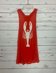 WILDFOX Women's XS Extra Small Red Lobster Cute Soft Spring Summer Tank Top Tee