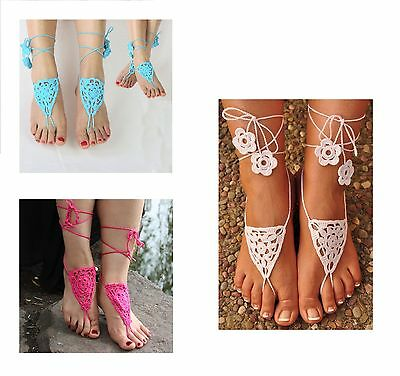 1 pair Boho pink beaded crochet barefoot sandals  beach bridal shoes  yoga anklets  foot jewellery